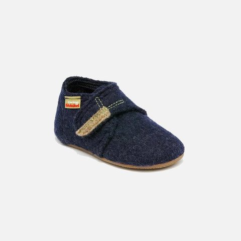 Wool Slipper Shoe - Navy - 18-30 (UK 2-11.5)