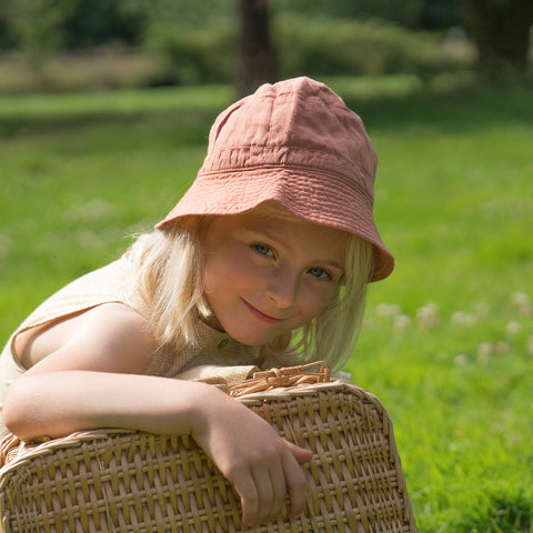 Linen Francis Sun Hat - Sienna Orange - 6-12m
