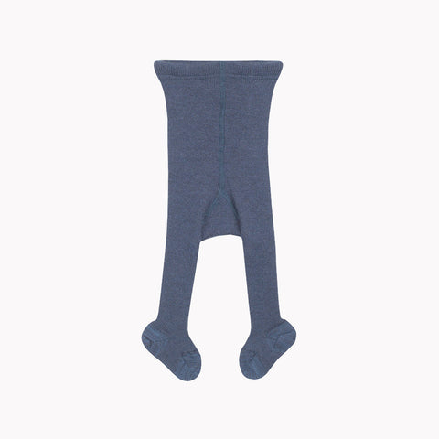 Fine Merino Wool/Cotton Baby Tights - Marine - 9-12m