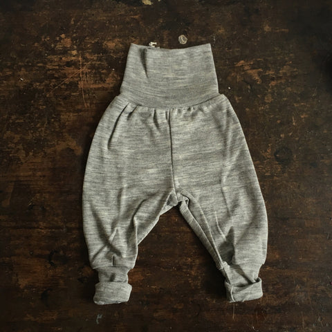 Organic Silk & Merino Wool Baby Pants - Grey - 0-24m