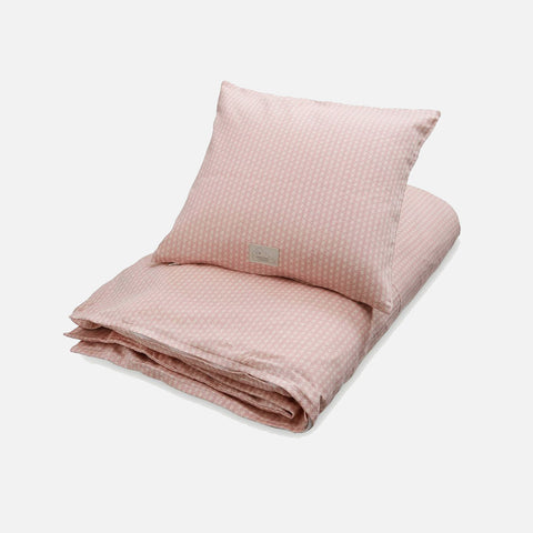 Organic Duvet & Pillow Cover - Sashiko Blush - Junior Cot