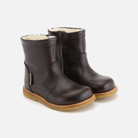 Wool Lined Waterproof Short Leather Boot w/ Zip - Dark Brown - 23 (UK 6) - 34 (UK 3)