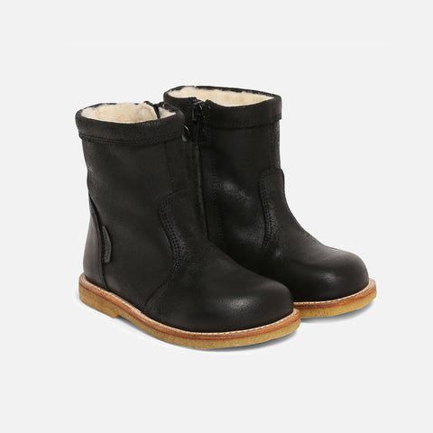Wool Lined Waterproof Short Leather Boot w/ Zip - Black - 24 (UK 7) - 34 (UK 3)