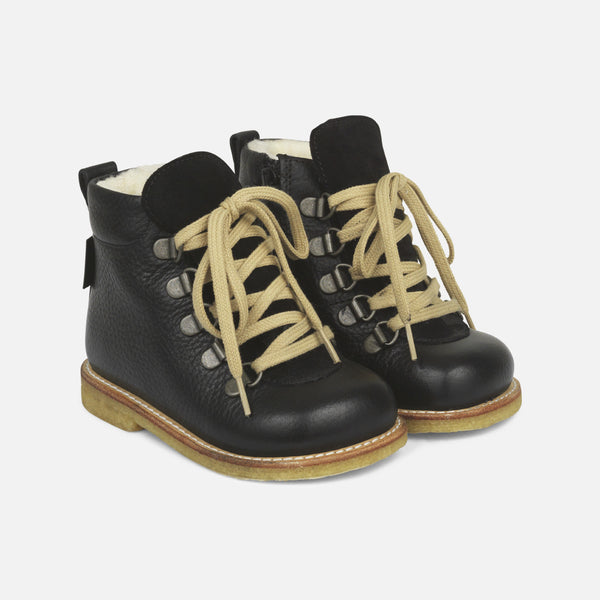 Lace Up w/Zip Toddler Waterproof Leather Boots - Black - 20-25