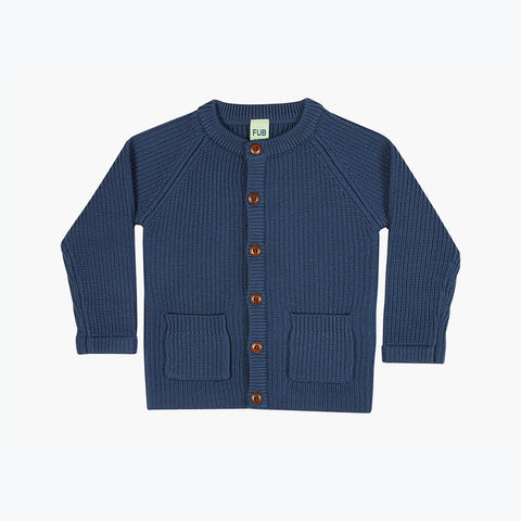 Thick Kids Merino Jacket/Cardigan - Denim - 3y-10y