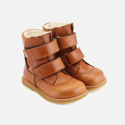 Wool Lined Waterproof Leather Boot - Cognac - 24 (UK 8) - 30 (UK 12)