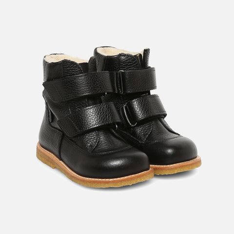 Wool Lined Waterproof Leather Boots - Black