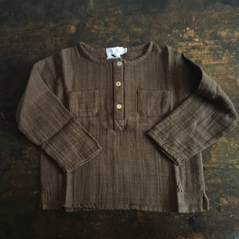 Muslin Button Shirt - Brown - 9m-18m