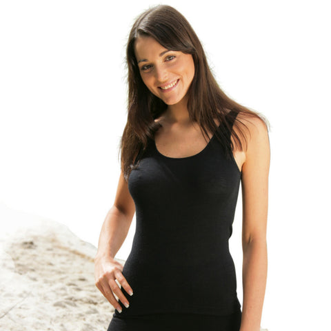 Organic Silk/Merino Wool Women's Sleeveless Vest -  Black