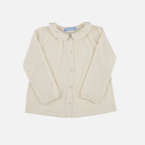 Organic Cotton Collar Blouse - Natural - 3-9y
