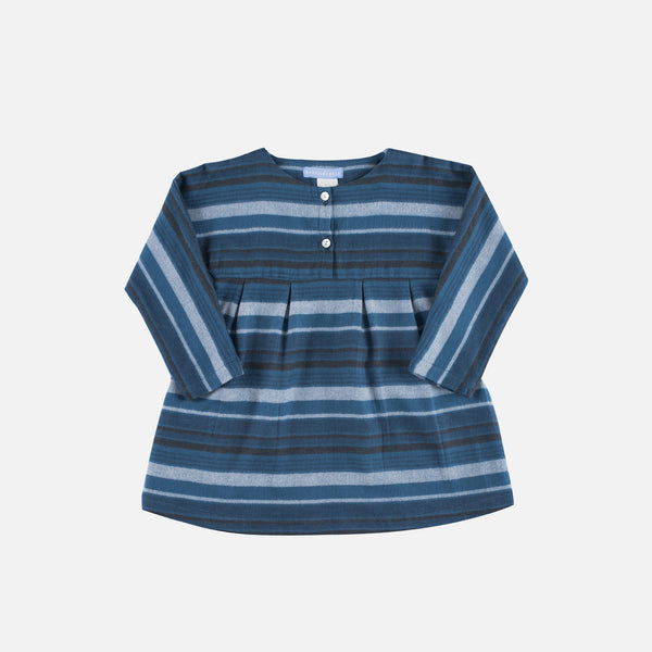 Organic Brushed Cotton Dress - Bluestone Stripe - 2-9y