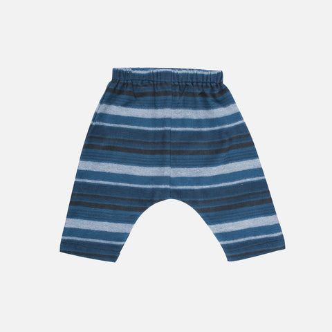 Organic Brushed Cotton Baby Pants - Bluestone Stripe - 3-24m