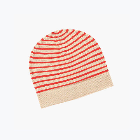 Fine Merino Wool Hat - Beige/Red - 4-10y