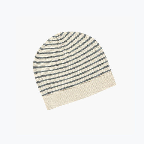 Fine Merino Wool Hat - Ecru/Grey - 2-10y