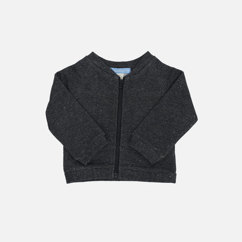 Organic Cotton Sweat Baby Bomber - Granite - 0m-24m