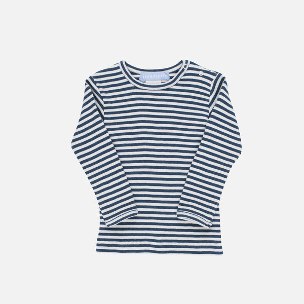 Organic Cotton Baby Tee - Orion Blue/Offwhite - 3-9m
