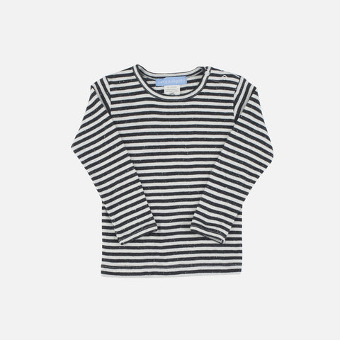 Organic Cotton Baby Stripe Tee - Granite/Offwhite - 3m-2y