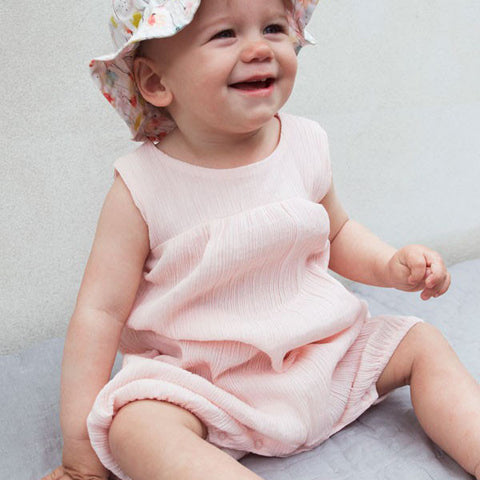 Organic Cotton Light Woven Baby Romper - Rose - 3m