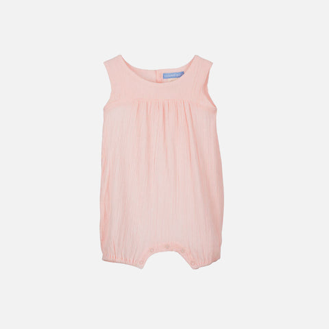 Organic Cotton Light Woven Baby Romper - Rose - 3m-2y