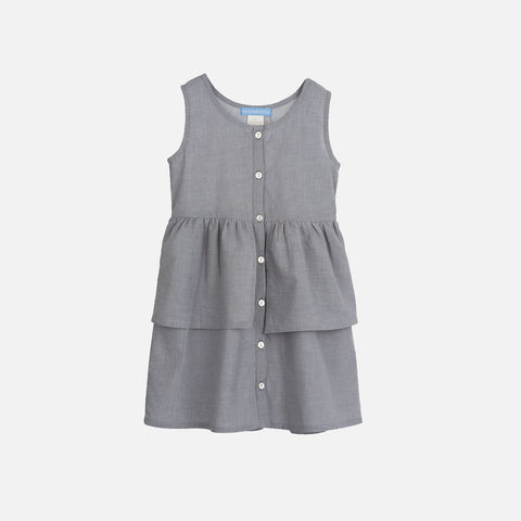 Organic Light Woven Dress - Grey - 3-9y