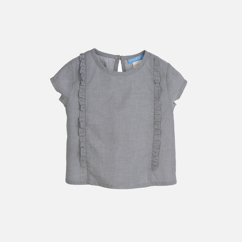 Organic Light Woven Flair Blouse - Grey - 3-9y