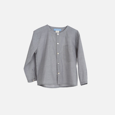 Organic Cotton Light Woven Peasant Shirt - Grey - 3-9y