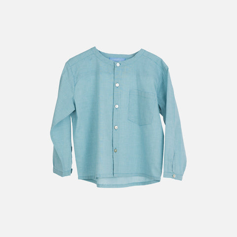 Organic Cotton Light Woven Peasant Shirt - Lagoon Square - 3-9y
