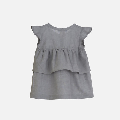Organic Cotton Light Woven Baby Dress - Grey - 3m-2y