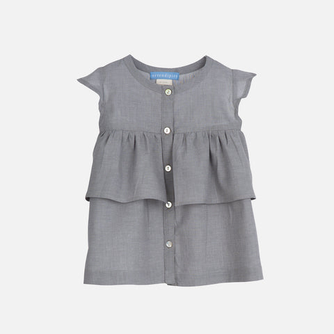 Organic Cotton Light Woven Baby Dress - Grey - 3m