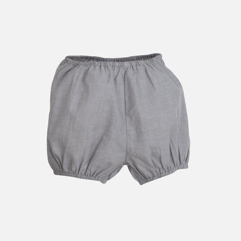 Organic Cotton Light Woven Baby Bloomers - Grey - 0-9m