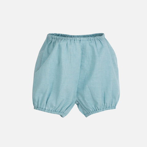 Organic Cotton Light Woven Baby Shorts - Lagoon Square - 0m-2y