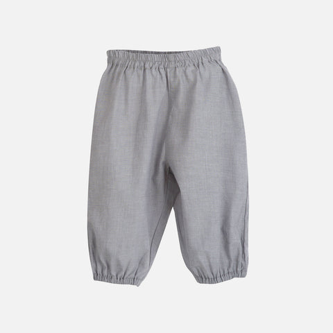 Organic Cotton Light Woven Baby Pants - Grey - 9m