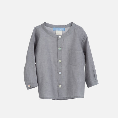 Organic Cotton Light Woven Baby Shirt - Grey - 6m-2y