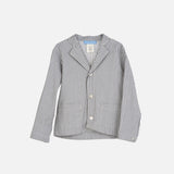 Organic Cotton Woven Stripe Jacket - Grey - 3-9y