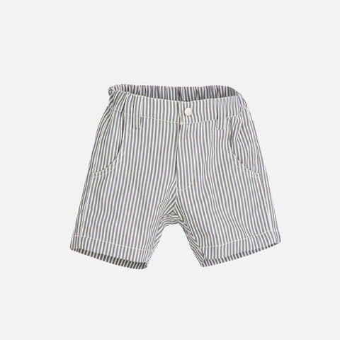 Organic Cotton Woven Stripe Shorts - Grey - 3-9y