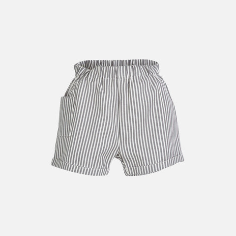 Organic Cotton Woven Baby Shorts Stripe - Grey - 3m-2y