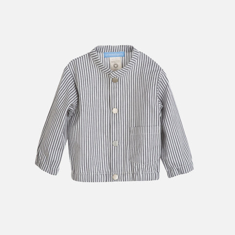 Organic Cotton Woven Baby Jacket Stripe - Grey - 6m-2y