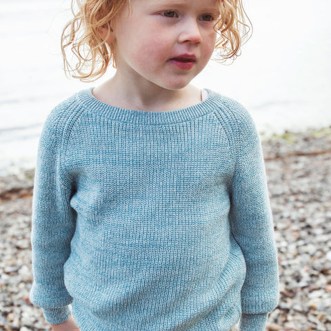 Organic Cotton Knitted Raglan Sweater - Lagoon - 3-9y