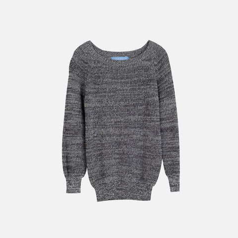 Organic Cotton Knitted Raglan Sweater - Grey - 3-9y