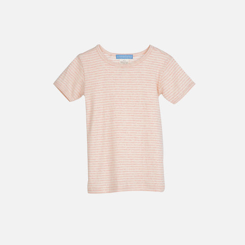 Organic Cotton Rib Stripe Tee Short - Rose/Offwhite - 2-9y