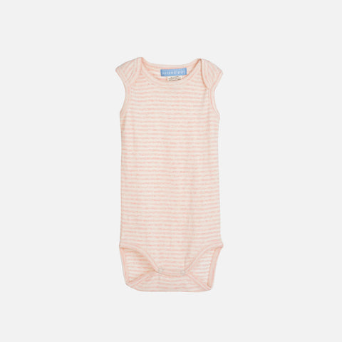 Organic Cotton Baby Tank Body Stripe - Rose/Offwhite - 0-9m