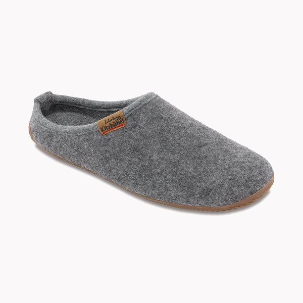 Adult Boiled Wool Slippers - Light Grey - 37-40