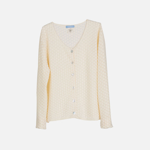 Organic Knitted Cotton Honeycomb Women Cardigan - Creme