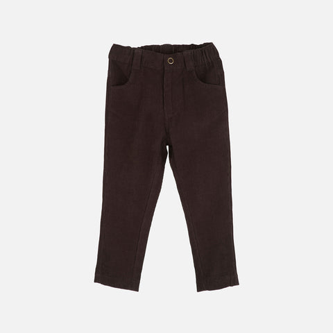 Corduroy Slim Pants - Dark Brown - 3y