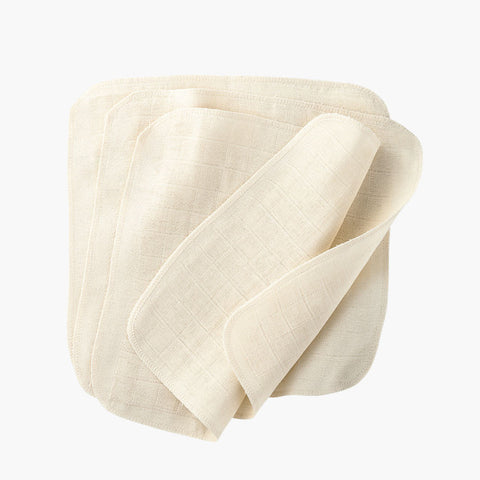 Organic Cotton Muslin Wash cloths - Natural - Set of 5