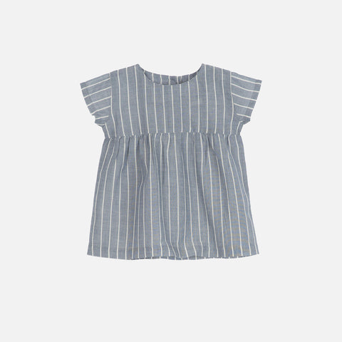 Organic Cotton Baby Dress - Blue Stripe - 3m-2y