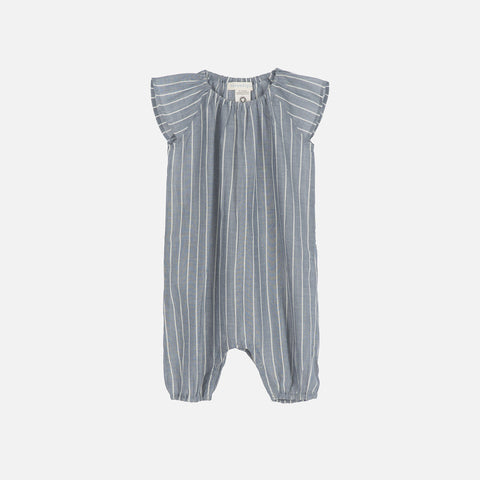 Organic Cotton Baby Puff Suit - Blue Stripe - 0m-2y