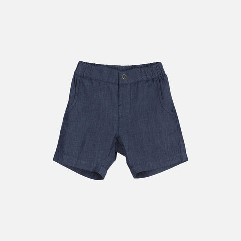 Organic Cotton Denim Shorts - Dark Denim - 2-11y