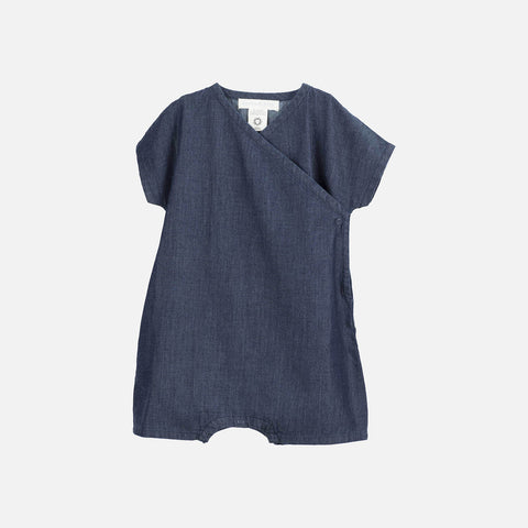 Organic Cotton Baby Wrap Suit - Denim - 0-12m