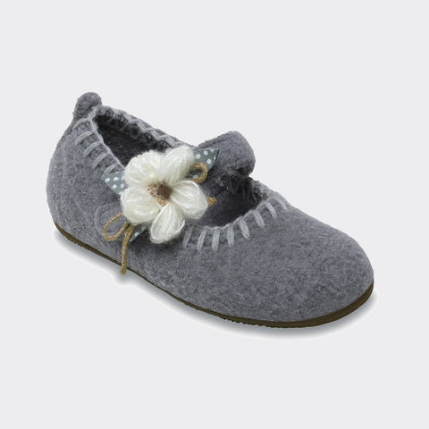 Wool Ballerina slipper - Frost Grey - Size 24(UK 7)